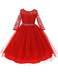 girls dress lace top rhinestones tulle holiday christmas party flower girl dress
