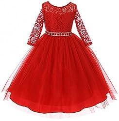 Girls Lace Top Rhinestones Flower Girl Dress