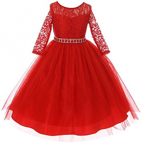 Dreamer P Big Girls' Dress Lace Top Rhinestones Tulle Holiday Christmas Party Flower Girl Dress Red Size 10 (M37BK2) -