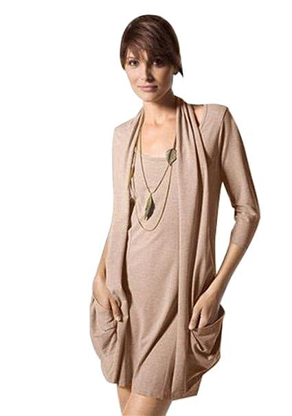 Chillytime Damen Kleid mit Taschen Minikleid Strickkleid sand Gr. XS 32   Amazon.de  Bekleidung 64290023a6