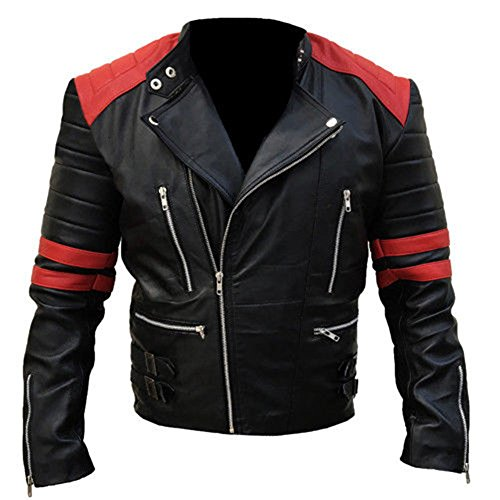 Leather Jacket Men Biker's Rage Red Black Quilted Retro (5XL)
