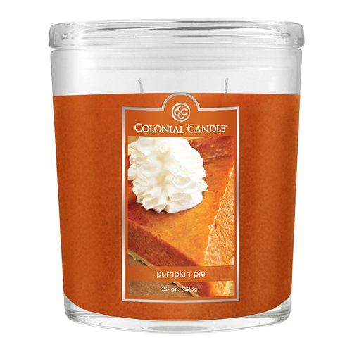 Oval Pumpkin - Colonial Candle 22-Ounce Scented Oval Jar Candle, Pumpkin Pie