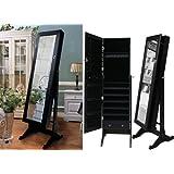 Amazon Com White Mirrored Jewelry Cabinet Armoire W Stand