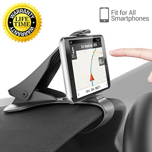 (Car Mount, HUD Smart Phone GPS Holder Aolket Universal Cradle Adjustable Non-Slip Holder for Safe Driving for iPhone X / 8 / 8Plus / 7 / 7Plus, Samsung Galaxy S8 / S8+ / Note 8 and All Smartphones)