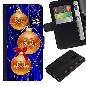 KingStore / Leather Etui en cuir / Samsung Galaxy S5 Mini, SM-G800 / Decoraciones de navidad