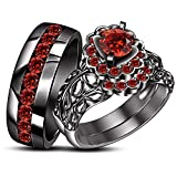 TVS-JEWELS Gemstone His & Hers Trio Set Engagement Ring Wedding Band 925 Silver Black Rhodium Plated (red garnet)