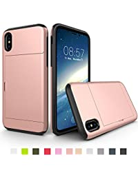 Apple Phone X Slim Phone Case Protective Shockproof Hybrid Armor Cover with Sliding Card Holder Soft TPU Rubber Case