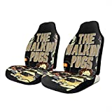 walking dead car seat covers - QBahoe Car Seat Covers The Walking Pugs Universal Front Seat Covers Saddle Blanket Seat Cover Protectors for Cars Truck SUV Van 2 PCS