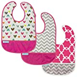 Kushies Cleanbib Waterproof Feeding Bib with Catch All/Crumb Catcher pocket. Wipe clean and reuse! Lightweight for comfort , 3-Pack, Baby Girls, 12 Months and Up, White Doodle Hearts/Fuchsia Modern Flowers/Fuchsia Chevron