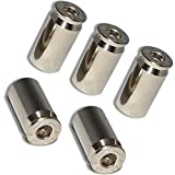 """(5 Count)""""45 Cal Bullet Shells Easy Grip Design""""Valve Stem Dust Cap Seal Made of Genuine Anodized Nickel Metal {Silver Color - Hard Metal Internal Threads for Easy Application - Rust Proof}"""