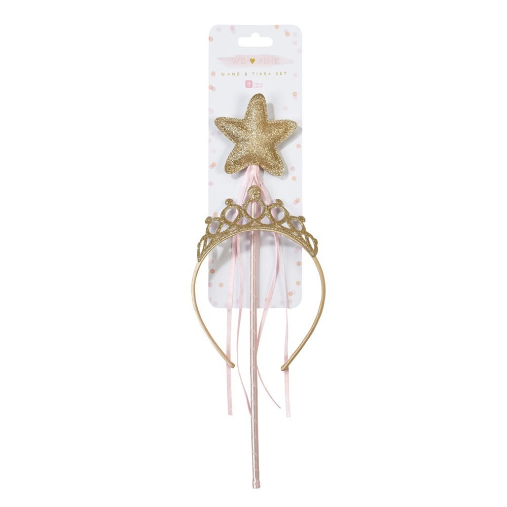 Great For Princess Dress Up Gold Talking Tables Princess Party Pink Fairy Dress Up And Kids Party Tiara And Fairy Wand Gold Set