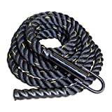 Warrior Athletics Black Poly Dac Gym Climbing Rope For Strength And Fitness Training - 1.5 Inch - Easy To Attach - 20ft Climbing Rope With Free Carabiner!