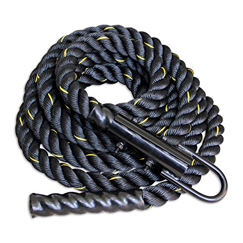 Warrior Athletics Black Poly Dac Gym Climbing Rope For Strength And Fitness Training - 1.5 Inch - Easy To Attach - 20ft Climbing Rope With Free Carabiner! by Warrior Athletics