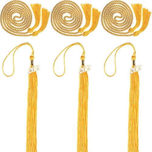 3 Pieces 2019 Graduation Tassels and 3 Pieces Graduation Cords Polyester Yarn Honor Cords Grad Party Tassel Cord Decoration for Party Supplies (Gold)