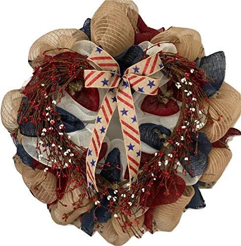 Americana Wreath - Patriotic Americana Pip Twig Berry Wreath Handmade Deco Mesh