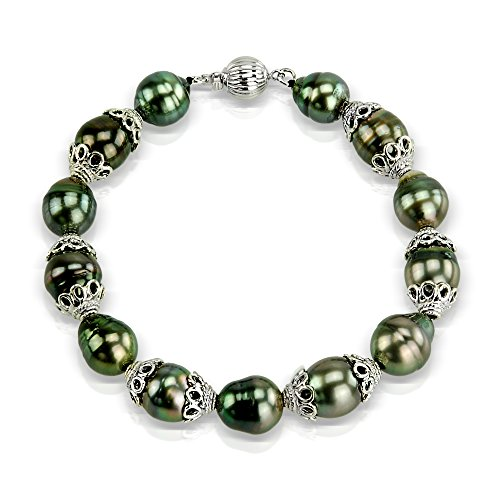Sterling Silver 9-11mm Black Off-shape Tahitian Cultured Pearl Ball Clasp Bracelet, 7.75'' by La Regis Jewelry