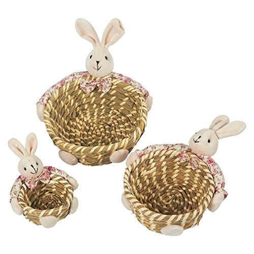 (Round Baskets, 3-Pack Straw Candy Bowl Snack Baskets with Rabbit Decoration - Ideal for Displaying Candy, Tabletop Decorfor Living Room, Dining Room, and Kitchen, Pink and Brown, Assorted Sizes)
