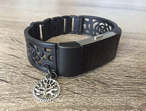 Handmade Silver Bangle - Gunmetal Color Band For Fitbit Charge 2 Fitness Tracker Unique Handmade Black Matte Jewelry Bangle Fitbit Charge 2 Bracelet With Silver Vintage Tree Of Life Spiritual Charm Adjustable Size