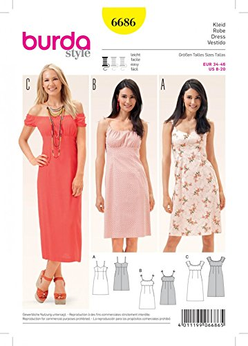 9c1b884fc50 Burda Ladies Easy Sewing Pattern 6686 Summer Dresses  Amazon.co.uk  Kitchen    Home