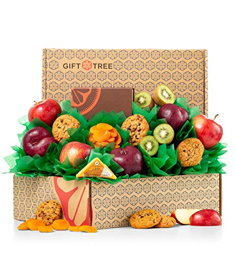GiftTree Fresh Fruit & Cookies Gift Basket | Box Includes Apples, Kiwis, Plums, Oatmeal Cookies, Wisconsin Cheddar Cheese & more | Perfect Thank You, Birthday, and Holiday Present ()