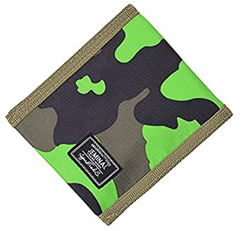 JEMINAL New Mens and Boys Camo Canvas Wallets Purse with Zipper Coin Pocket (H - Green camouflage)