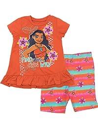 Disney Moana Toddler Girls' Ruffle Tunic and Bike Short Set Orange