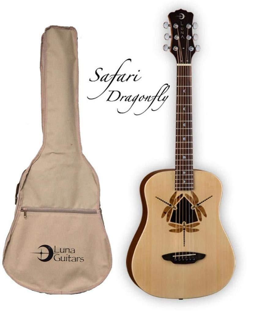 Luna Safari Series Dragonfly 3/4-Size Travel Acoustic Guitar - Natural by Luna Guitars