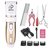 LILYS PET Electric Professional Pet Dog Cat Hair Clipper,Stainless Steel &Ceramic Blades Rechargeable Trimmer Shaver Razor Grooming Clipper Kit (White-Gold)