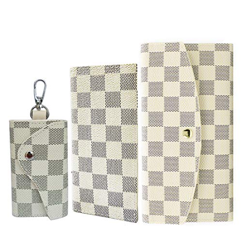 Two-piece Wallets for Women Three-piece Key Case for Men Leather Clutch Checkbook Purse RFID Blocking with Credit Card Holder (Three-piece Beige)