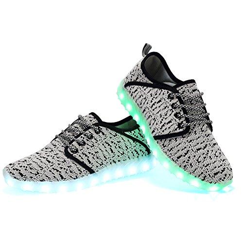 EQUICK Kinder LED Leuchten Schuhe Breathable stricken Kinder Casual Laufschuhe (kleines Kind / großes Kind) C.grau
