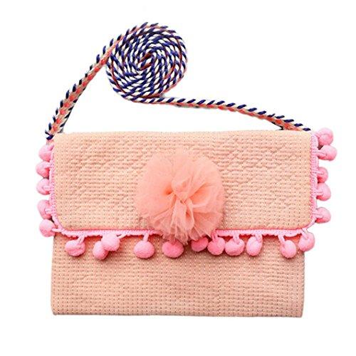 Anshinto Baby Tassels Floral Printed Fashion Backpacks Cute Storage Bag Single Shoulder Bag (Pink)