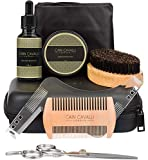 Cain Cavalli Premium Mens Beard Care Grooming Kit - Travel Case, Shaper Template, Apron, Organic Oil Conditioner and Wax Balm, Trimming Scissors, Comb, Brush - Ultimate Trimmer Accessories Set for Men