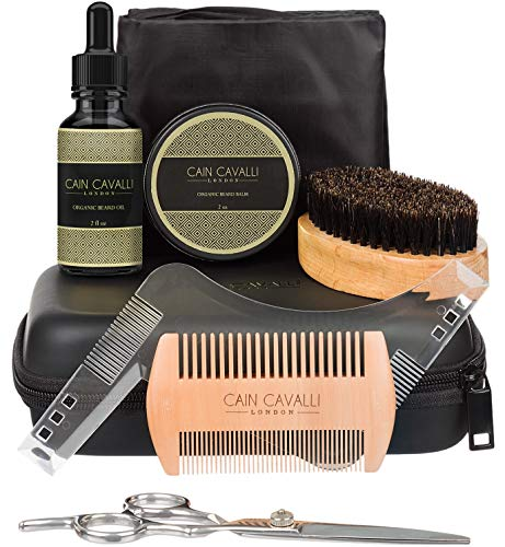 Cain Cavalli Premium 8 in 1 Beard Care Grooming Kit – Travel Case, Shaper Template, Apron, Organic Oil Conditioner & Wax Balm, Trimming Scissors, Comb, Brush – Ultimate Trimmer Accessories Set for Men
