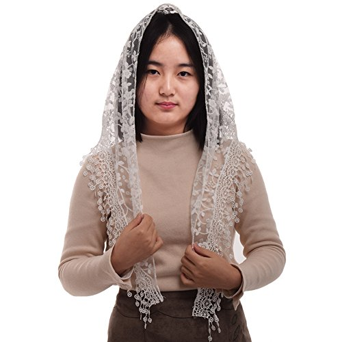 Pattern Scarf Triangle - BLESSUME 1pc Women Triangle Pattern Veil Classic Mantilla Soft Lace Chapel Veil