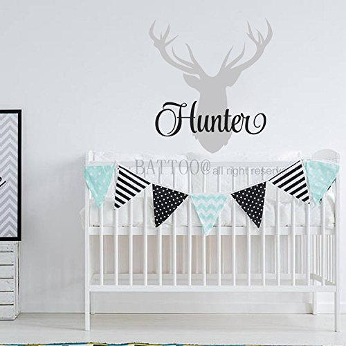 BATTOO Personalized Deer Antlers Name Wall Decal Hunting Themed Woodland Nursery Decor Deer Name Decal 30
