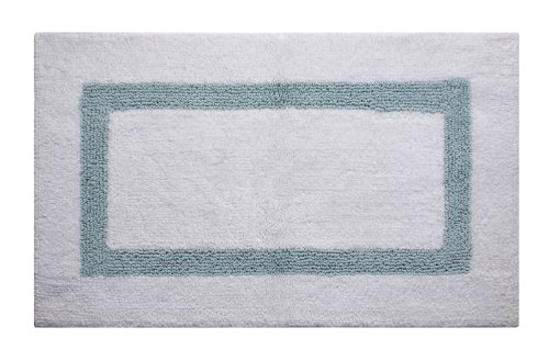 Better Trends / Pan Overseas Hotel Collection 200 GSF 100-Percent Cotton Reversible Bath Rugs, 24 by 40-Inch, White/Blue