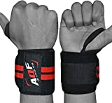 AQF Power Weight Lifting Wrist Wraps Supports Gym Training Fist Straps - Sold as Pair & One Size Fits All (Black)