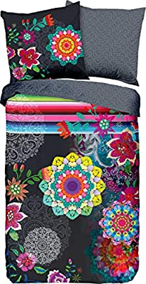 Coton 135 x 200 cm // 80 x 80 cm Multicolore HIP Tamaki Parure de lit en Satin de Coton mako