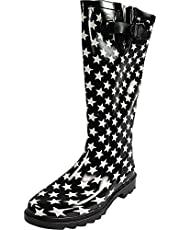 Sunville Women's Mid Calf Waterproof Rubber Garden Rainboots