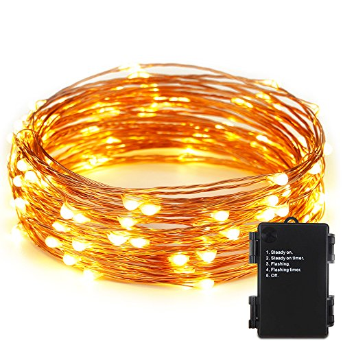 Outdoor Battery Operated Lights With Timer Outdoor waterproof battery operated lights amazon er chentmindoor and outdoor waterproof battery operated 100 led string lights on 33 ft long ultra thin copper string wire with timer warm white workwithnaturefo