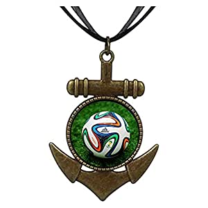 Chicforest Bronze Retro Style Brasil 2014 World Cup Football Anchor Pendant