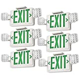 (6-Pack) Dependable Direct Green LED Exit Sign with
