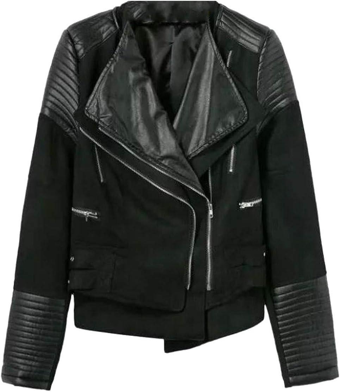 Pcutrone Women Lapel Neck Quilted Autumn Oblique Zipper Short Faux Leather Jacket Coat