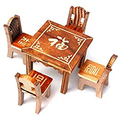 DIY Wooden Dollhouse Miniature Furniture Wooden Mini Dining Room Table and 4 Chairs Set