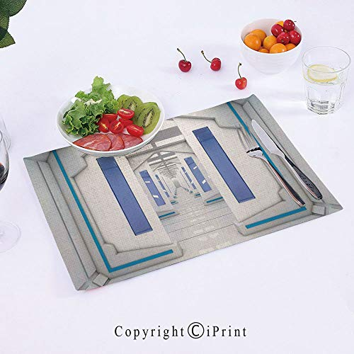 AngelSept Cotton Linen Placemats,Robotic-Space-Mission-Vehicle-Solar-System-Journey-to-Universe-Milky-Way,18x12inch,Washable for Kitchen Table Heat-resistand Table Mats ()