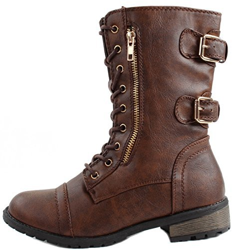 Forever Women's Mango-71 Faux Leather Military Style Ankle Boots Thick Sole Buckles,7 B(M) US,Brown by Forever