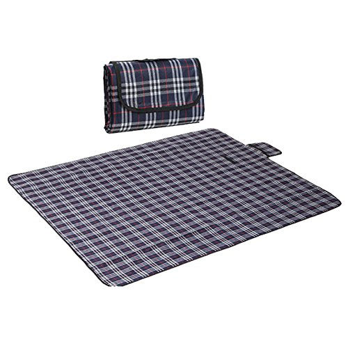 RealPero Large Outdoor Waterproof Picnic Blanket Foldable Handy Tote Bag Compact Plaid Washable Sand Proof Mat for Beach Travel Camping on Grass 6070 (Color 3)