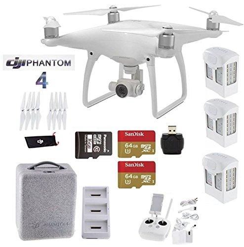 DJI-Phantom-4-Bundle-Includes-3-Intellegent-In-Flight-Batteries-Battery-Charging-Hub-2-Extended-Video-64GB-Micro-SD-Memory-Card
