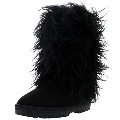 Holly Womens Long Bedeckt Regen Winter Warm Tall Snow Boots Schwarz