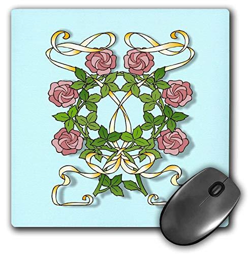 3dRose Russ Billington Designs - Art Nouveau Design of Pink Roses and Yellow Ribbons - Mousepad (mp_296776_1) (Yellow Ribbon Mouse Pad)
